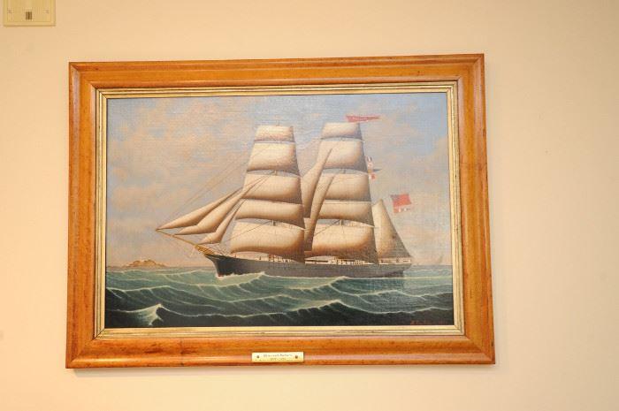 """Henry Loos of Antwerp, 1879, """"Philia"""" original painting in burlwood frame"""