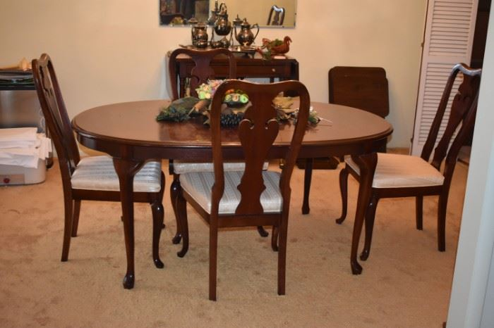 Another view of this Beautiful  Dining Table and 4 of the 6 Matching Chairs