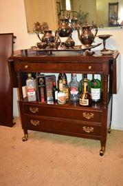 Gorgeous Tea Trolley, Collectible Bottles, Beautiful Victorian Silver Tea Set