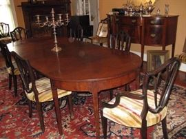 Early 19c English Mahogany Three-part Dining table  and Set/10 Early 20c English Neoclassical Style Dining Chairs and A Beautiful Large English Silver Plated Candelabrum