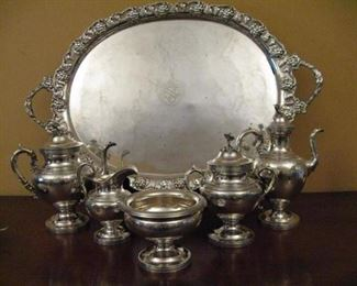 Large 19c English Electroplated Grape Pattern Tray w/ Bilateral handles