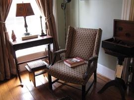 Fine Georgian Style Open Arm Library Chair, Small Decorative Sofa Table and other Accessories