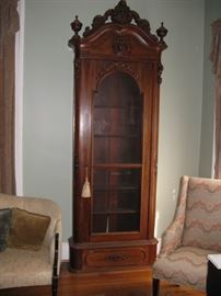 Rare c.1850 Rococo Revival Rosewood Bookcase likely by J. & J. W. Meeks (one of two)