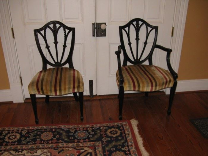 Side Chair and Arm Chair of the Set of 10, two arm chairs, eight side chairs