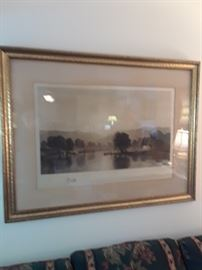 Fine old engraving with remarque, gold leaf framed 1900s,  by William Wellstood, American artist/engraver
