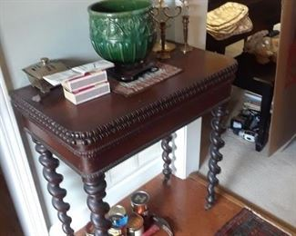 Card table with flip top and barley twist legs