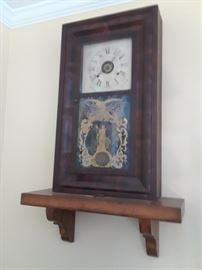 Wonderful old clock, burlwood mantle clock, reverse painting on glass