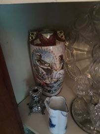 Porcelain vases, silverplate and pressed glass