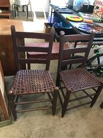 Pair of cane bottom antique chairs