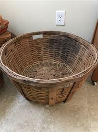 Huge antique oak basket with handles.  Very, very nice