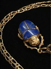 Antique 14K French Chain  Egyptian Gold Lapis Scarab