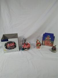 Dept 56 Snow Village Christmas ornaments , Pinewood Log Cabin , Jay Young's Greenery  https://ctbids.com/#!/description/share/121958