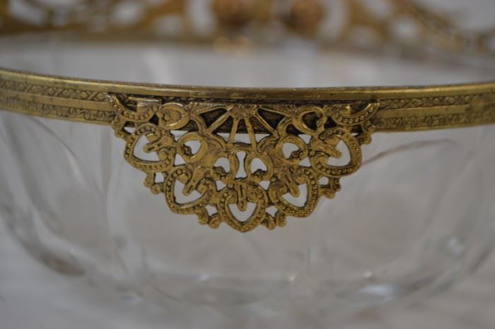 Cut Glass Bowl with Decorative Banding