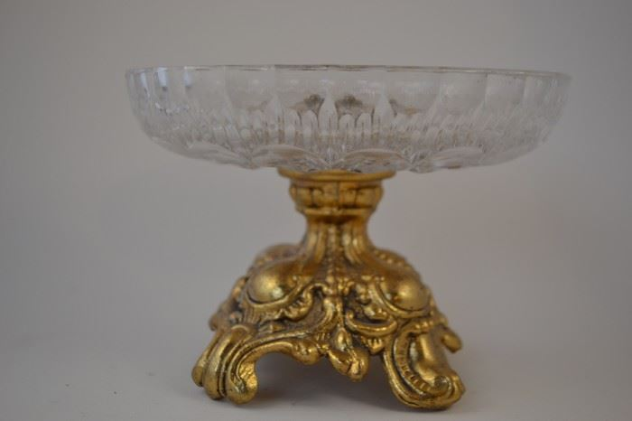 Vintage Cut Glass Bowl with Ornate Base