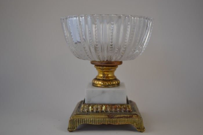 Vintage Collectible Bowl with Brass and Marble Base