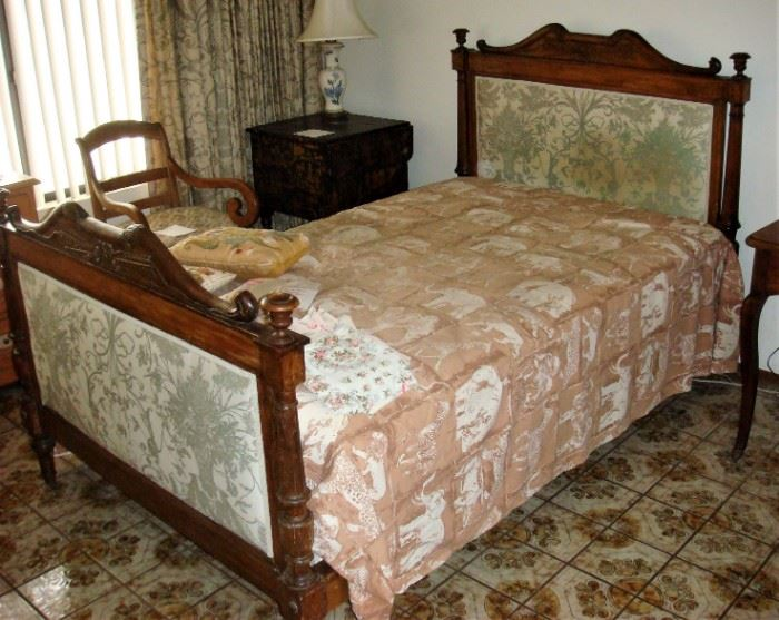 19th century 3/4 size bed Empire carved beechwood and fruitwood