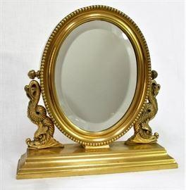 Heavy brass dressing mirror