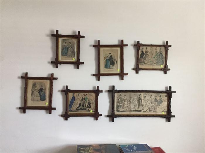 Antique picture frames.  Contain Victorian Prints