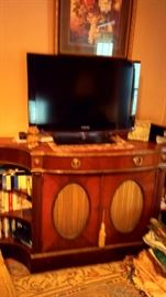 Old TV Oak Cabinet and Samsung Flat Screen TV