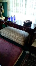 Cherry Couch Table and Upholstered Settee