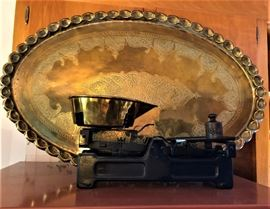 brass tray and scale