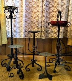 wrought iron candle / plant stands
