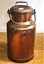 copper and brass milk jug - 20 litre