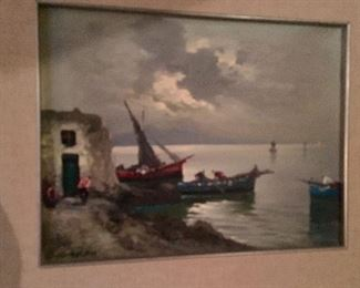 Cappri beach scape, Italian influence, one of three painting by this Cappri