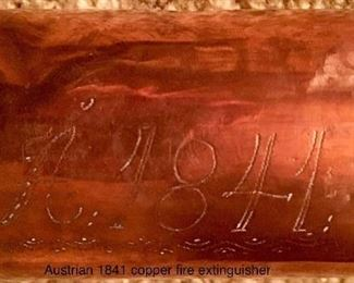 Copper fire extinguisher with 1841 presentation date