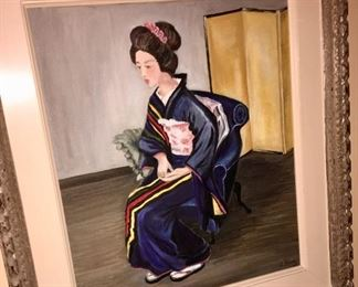 Original unsigned painting of a lady in period Japanese dress