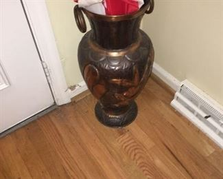 Enameled floor urn/vase