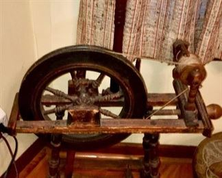 Acquired while stationed in Europe, Austrian spinning wheel.