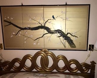Fabulous gold leaf mid century king headboard with frame, Japanese paneled wall screen.