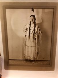 Signed hand colored portrait of ancestor in Creek dress.