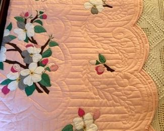 Hand appliqué and quilted Japanese cherry blossoms quilt