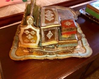 Collection of various Italian painted trays and decorating items