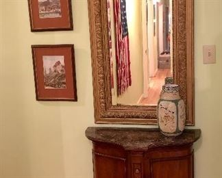 Hall credenza, antique framed mirror, French paintings