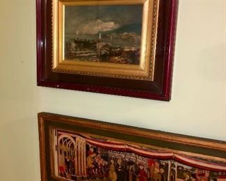 Italian original board  painting under glass with double frame.