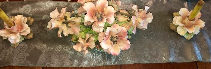 Italian bisque Capodimonte Rose centerpiece with matching candlesticks