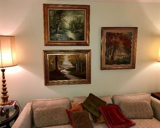 Living room grouping of original oil on canvas paintings by various artist