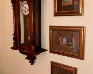 Antique wall clock, three original paintings
