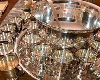 1950-60-'s Vintage silver plated punch service with 24 cups, ladle, bowl and under plate