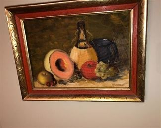 Original wine and fruit painting signed