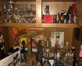 Vintage bar ware and collectible liquor bottles