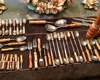 Bamboo handled stainless  entertainment flatware service