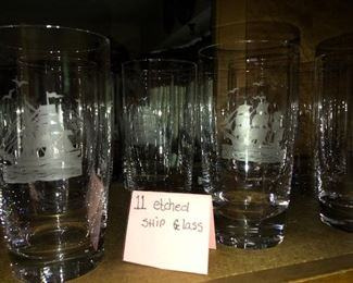 Etched ship barware