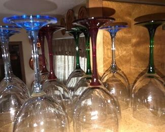 Crystal barware in various colors
