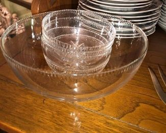 Polish crystal berry bowl set