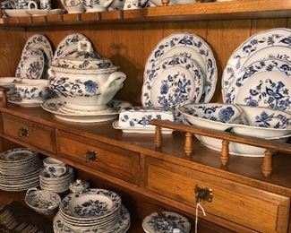 Large collection of Blue Danube dinnerware and serving pieces.