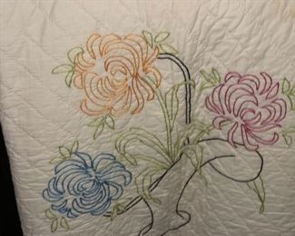 Hand embroidery flower basket quilt with hand quilting.  Most likely completed in the 1930's
